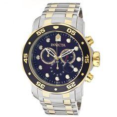 Relógio masculino Invicta 0077 Prata e dourado Pro Diver Banhado a ouro 18 k fundo Azul