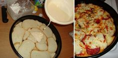 kenyérpizza szikkadt kenyérből Stale Bread, Grated Cheese, Baking Pans, Ketchup, Mozzarella, Pizza, Mashed Potatoes, Sausage, Spices