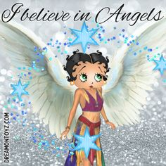 I believe in Angels ➡ More Betty Boop graphics & greetings: http://bettybooppicturesarchive.blogspot.com/  ~And on Facebook~ https://www.facebook.com/bettybooppictures  Angel Betty Boop with stars