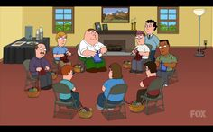 Peter Griffin knitting in Family Guy.  Submitted by knottedandtangled.