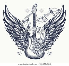 Guitar and wings tattoo. Electric guitar, roses, angel wings and music notes. Rock and roll t-shirt design. Symbol of rock music, musical festivals. Electric guitar tattoo art print