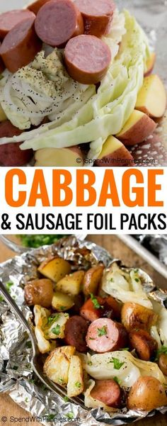 Cabbage and Sausage Foil Packs contain tender potatoes, smoky sausage, onion and sweet cabbage seasoned with garlic butter and all cooked in a tidy little packet on the grill! (Sausage Recipes For Dinner) Grilling Recipes, Pork Recipes, Cooking Recipes, Healthy Recipes, Potato Recipes, Healthy Meals, Recipies, Bulk Cooking, Cooking Lamb