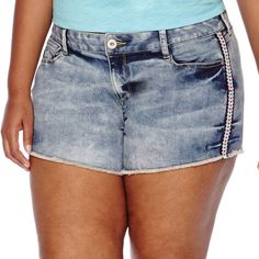 ARIZONA Arizona Multicolor Embroidery Geo Shorts - Juniors Plus