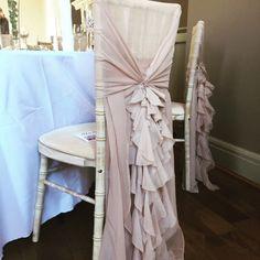 Chiffon Ruffle Chair Hoods. Chair Cover inspiration. Chair cover ideas. Chair cover styles.