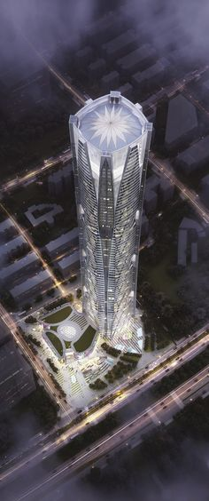 Hanking Center, Shenzhen, China by Leo A Daly Architects :: 65 floors, height :: competition entry [Architecture - Render - Concept] Unusual Buildings, Interesting Buildings, Amazing Buildings, Modern Buildings, Modern Houses, Futuristic Architecture, Beautiful Architecture, Contemporary Architecture, Architecture Design