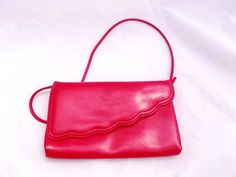 Vintage RED SCALLOPED Purse • 1980s Cherry Red Clutch • Removable Strap •