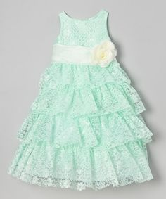 http://www.zulily.com/invite/vhanson979 Loving this Mint Lace Tiered Dress - Toddler & Girls on #zulily! #zulilyfinds