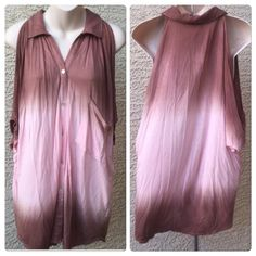 "♣️ Young Fabulous & Broke ombre cold shoulder top Super cute Young Fabulous &Broke top. It is a gorgeous ombre with brown and peach colors. It is a cold shoulder which is an open shoulder . Size large made of 100% rayon. Hangs perfectly. Button down. The last photo is for fit reference.  All items are from a clean, smoke free home  We ❤️ offers but will only be considered by using the ""OFFER"" option  Trades  Modeling Young Fabulous & Broke Tops Blouses"