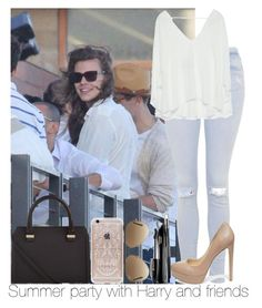"""""""Summer Party With Harry And Friends"""" by hazzgirl03 ❤ liked on Polyvore featuring beauty, Topshop, Ray-Ban, Rifle Paper Co, Zara, Steve Madden, Victoria Beckham and Lancôme"""