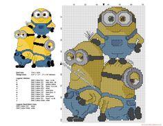 Los Minions juntos patron punto de cruz 71 x 101 puntos 11 colores DMC