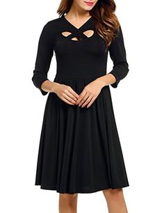 ACEVOG Womens Casual Dress Vintage A Line Party -- Click image to review more details.