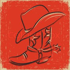 cowboy boot painting | Stock vector of 'Cowboy boot and western hat Sketch illustration foe ...