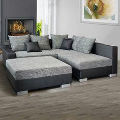 Moderne eckcouch grau  Ecksofa bezogen mit einem Velours ähnlichen Stoff in grau ...