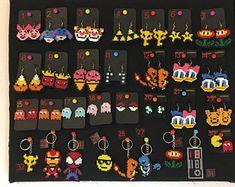 Geeky Fun Movie/Game Inspired Earrings, Keychains & Clips- Mini Perler Beads- Pick any 5 for 20 - Marvel, Disney, Care Bears, Pokem Daisy Donald, Hello Kitty, Mushroom Pictures, Art Perle, Diy Perler Beads, Perler Bead Art, Eeyore, Fuse Beads, Wax Paper