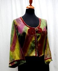 100% silk dupioni jacket., lined with satin ...handpainted...one-of-a-kind $265.00