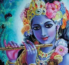 """""""My dear friends, we cannot even think of His bamboo flute—what sort of pious activities did it execute so that it is now enjoying the nectar of the lips of Krishna. Radha Krishna Holi, Krishna Leela, Jai Shree Krishna, Krishna Radha, Krishna Love, Lord Krishna Images, Krishna Photos, Lord Krishna Wallpapers, Krishna Painting"""