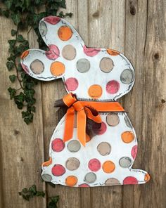 Pink and Orange Easter Bunny with Bow Door Hanger