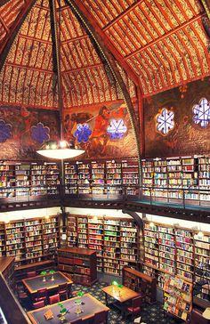 "Oxford Union library, Oxford, UK ""A library in the middle of a community is a cross between an emergency exit, a life-raft, and a festival. They are cathedrals of the mind; hospitals of the soul; theme parks of the imagination. On a cold rainy island, they are the only sheltered public spaces where you are not a consumer, but a citizen instead."""