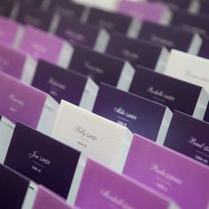 shades of purple place cards (add music theme or honeymoon location theme picture)