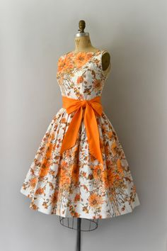 3c0f4e14d2f 1950s Vintage Dress 50s Orange Floral Cotton by Sweetbeefinds Orange  Vintage Dresses