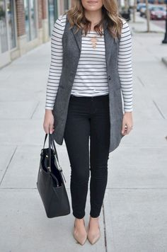 How to wear a long vest - striped tee. D nude flats. Want more cute casual outfits head to! Legging Outfits, Outfit Jeans, Long Vest Outfit, Flats Outfit, Vest Outfits For Women, Cute Casual Outfits, Clothes For Women, Work Outfits, Women's Clothes