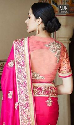 21 Latest Blouse Designs Pattern Indian Wedding Indian weddings, in short, are all about celebrating the moments of togetherness, and love. It is important for you to look good in your attire becau… Blouse Back Neck Designs, Netted Blouse Designs, Fancy Blouse Designs, Bridal Blouse Designs, Latest Saree Blouse Designs, Blouse Styles, Sari Design, Blouse Lehenga, Salwar Kameez