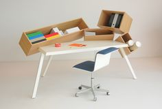 Overdose Desk by Bram Boo is a unique and quirky home office desk, with 4 intentionally skewed storage compartments for a unique aesthetic. Carte Blanche by Bulo. Table Furniture, Cool Furniture, Furniture Design, Furniture Market, Furniture Online, Bureau Design, Design Desk, Design Lab, Design Reference