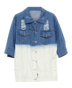 Ripped and Washed Denim Blouse in Gradient Color