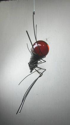 Blood Red Sun Catcher Window Spider Hanging Art
