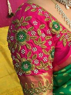 Check out the latest blouse design images. This will give you a better idea on which blouse design for your next saree purchase Wedding Saree Blouse Designs, Pattu Saree Blouse Designs, Fancy Blouse Designs, Blouse Neck Designs, Wedding Blouses, Sari Blouse, Embroidery Neck Designs, Embroidery Saree, Embroidery Works