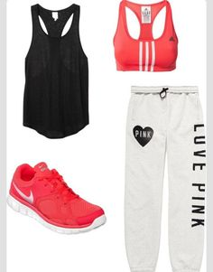 This is a great workout outfit, I need to get some money and buy this. I am always working out and in need of a good workout outfit. Nike Free Pink, Nike Free 3.0, Cute Gym Outfits, Sporty Outfits, Summer Outfits, Cute Outfits With Sweatpants, Fashion Sweatpants, Sporty Clothes, Comfy Clothes