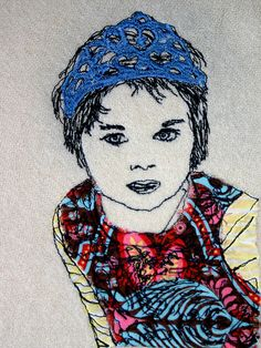 Freehand machine embroidery portrait of my daughter Ravenna (previous pinner... stunning work!)