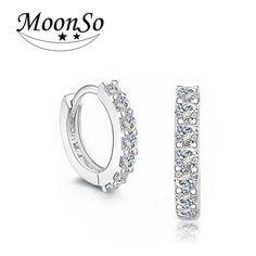 Moonso 925 Sterling Silver Earrings Two Simulated Diamond Hoop Earings 925 Brinco for women 2014 new women wedding jewelry E408