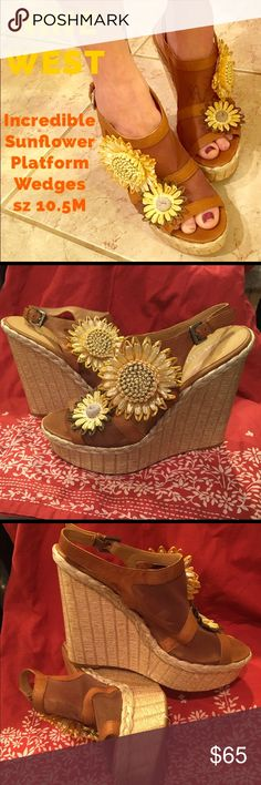 NINE WEST 🌻 Straw Sunflower Platform Wedges Mesh Incredible shoes! Size 10.5M Nine West Bahai platform wedges. The upper is mesh with genuine leather trim and straw sunflowers. Excellent condition! No wear or flaws to note with just a little darkening to bottom sole. Quite comfortable and sturdy. This SOLD OUT style retailed for $100. Nine West Shoes Platforms