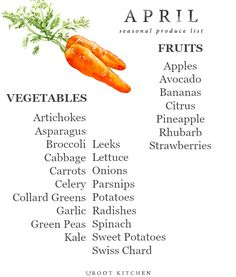 April Seasonal Produce List | uprootkitchen.com