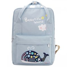 99746b5fb6 Beautiful World Cartoon Fresh Canvas Rucksack Whale Flower Printing School  Bag Backpack only  34.99 -AtWish.com