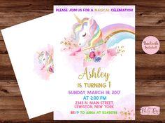 Unicorn Invitation -Rainbow Unicorn Invitation - Unicorn Invite - Unicorn Party Invitation- Unicorn Birthday Invitation.