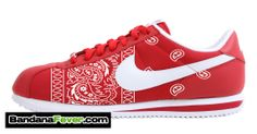 Dam these are dope Nike Cortez Red, Nike Cortez Shoes, Red Bandana Shoes, Bandana Dress, Iverson Shoes, Dallas Cowboys Shoes, Cowboy Shoes, Fresh Shoes, Nike Shoes Outlet