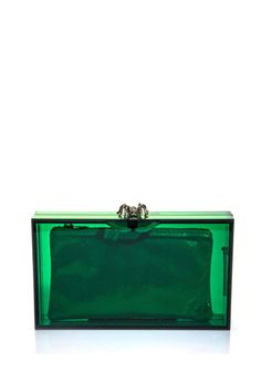 Pandora perspex box clutch and more emerald green finds we Collections Green Clutches, Green Purse, Green Handbag, Green Eyed Monster, Green Fashion, Fashion Colours, Acrylic Box, Color Of The Year, Emerald Green