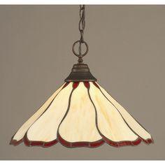 Vintage beautiful green tiffany style stained glass light lamp shade toltec lighting 1 light bowl pendant finish bronze aloadofball Images