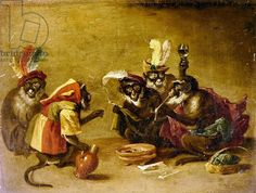 Monkeys smoking and drinking (oil on canvas)