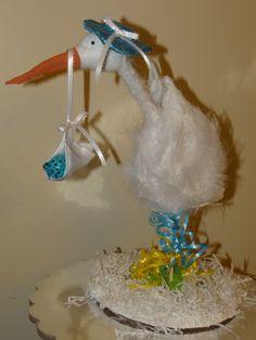 Baby Stork #Centerpiece for baby shower www.BelleCreations.net