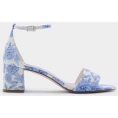 Charles & Keith Ankle Strap Sandals (£36) ❤ liked on Polyvore featuring shoes, sandals, low shoes, block heel shoes, blue block heel shoes, ankle tie sandals and blue ankle strap shoes