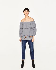 EMBROIDERED GINGHAM BLOUSE-View All-TOPS-WOMAN   ZARA United States   Supernatural Style
