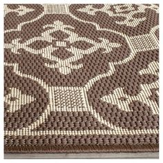 """Coventry Rectangle 6'7"""" X 9'6"""" Outer Patio Rug - Chocolate / Cream - Safavieh, Brown"""