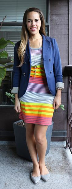 Jules in Flats September Outfit - Target Dress, H&M Blazer, J.Crew Factory Flats, Banana Repbulic Factory Necklace