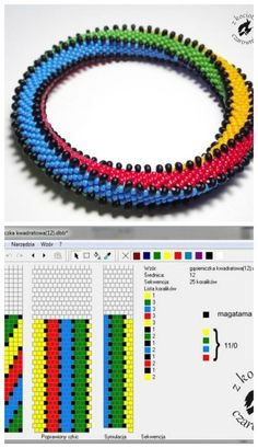 12 beads around 4 colors + magatama Love this! Bead Crochet Patterns, Bead Crochet Rope, Loom Patterns, Beading Patterns, Beaded Crochet, Crochet Beaded Bracelets, Beaded Necklace Patterns, Bracelet Patterns, Crochet Necklace