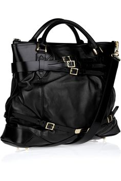 b96a4f5a0f0 Burberry Buckle-detailed Leather Tote in Black