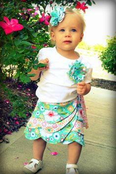 "The ""Ruby"" Reversible Wrap Skirt, Girl PDF Sewing Pattern, Fabric Flower Pattern. $6.75, via Etsy."