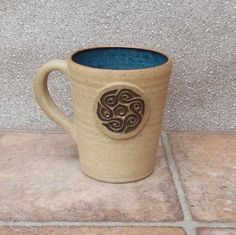Coffee Mug Tea Cup With A Celtic Knotwork Motif Wheel Thrown Stoneware Pottery by Caractacus Pots on Gourmly